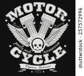motorcycle racing typography... | Shutterstock .eps vector #257572996