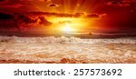 ocean waves and sky sunset      ... | Shutterstock . vector #257573692