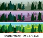 fir forest and a small house... | Shutterstock .eps vector #257578168