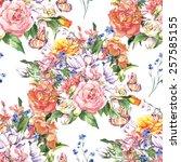 spring floral seamless... | Shutterstock . vector #257585155