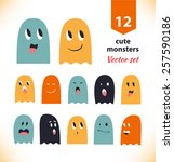 Vector Set With Cute Ghosts....