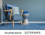 wooden chair with blue color... | Shutterstock . vector #257593495
