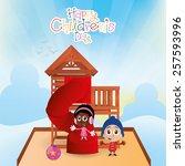 a pair of children on a winter... | Shutterstock .eps vector #257593996
