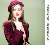 portrait of eyes closed elegant ... | Shutterstock . vector #257595562