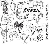 brazil icons doodle set  | Shutterstock .eps vector #257595976