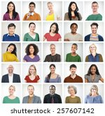 human face set of faces... | Shutterstock . vector #257607142