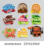 set of stickers of food    farm ... | Shutterstock .eps vector #257613565