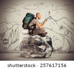 explorer in the mountains... | Shutterstock . vector #257617156