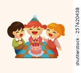 people celebrate the birthday... | Shutterstock .eps vector #257620438