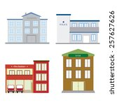abstract isolated buildings on... | Shutterstock .eps vector #257627626