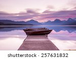 Boats Sit On The Dock At Lake...