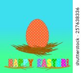 egg with polka dots pattern in... | Shutterstock .eps vector #257638336