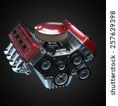 shiny motor isolated on black | Shutterstock . vector #257639398