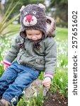 cute toddler boy with enjoying... | Shutterstock . vector #257651602