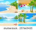 four scenes of beaches | Shutterstock .eps vector #257665435