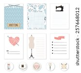 set of 6 creative sewing cards. ... | Shutterstock .eps vector #257668012