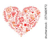 heart made of flowers | Shutterstock . vector #257680972