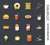 retro flat fast food icons and... | Shutterstock .eps vector #257687842