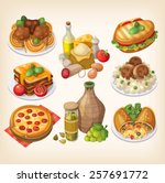 set of italian food  products... | Shutterstock .eps vector #257691772