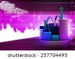finance pie and bar chart...   Shutterstock . vector #257704495
