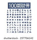 100 media  music  audio...   Shutterstock .eps vector #257706142