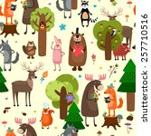 happy forest animals seamless... | Shutterstock . vector #257710516