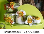 favors on a table outdoor with... | Shutterstock . vector #257727586