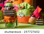 favors on a table outdoor with... | Shutterstock . vector #257727652