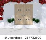 wooden front door of modern... | Shutterstock . vector #257732902