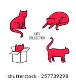 cats in different poses. vector ... | Shutterstock .eps vector #257739298