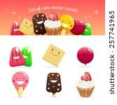 set of cute vector sweets | Shutterstock .eps vector #257741965