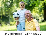 happy grandfather and child... | Shutterstock . vector #257743132