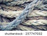 gray nautical rope  closeup... | Shutterstock . vector #257747032