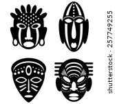 African Masks Isolated On Whit...