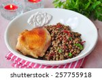grilled chicken with a lentil ... | Shutterstock . vector #257755918