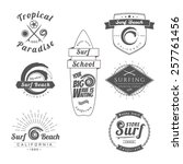 collection of vintage surfing...   Shutterstock .eps vector #257761456