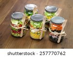homemade healthy salad in glass ... | Shutterstock . vector #257770762