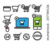 online shopping icons. set...