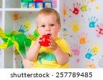 little cheerful child plays... | Shutterstock . vector #257789485