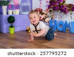 baby in the nursery playing his ... | Shutterstock . vector #257795272