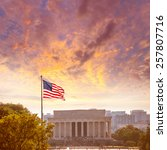 Small photo of Abraham Lincoln Memorial building sunset Washington DC US USA