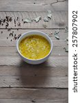 cheese soup with spices on... | Shutterstock . vector #257807902
