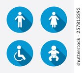 wc toilet icons. human male or... | Shutterstock .eps vector #257813392