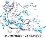 marine girl with fish and... | Shutterstock .eps vector #257824996