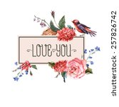 Floral Vector Vintage Card Wit...
