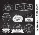 vector set of linear chalk... | Shutterstock .eps vector #257831062