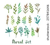 vector set of plants in... | Shutterstock .eps vector #257841646