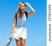 young blonde happy beautiful... | Shutterstock . vector #257851898
