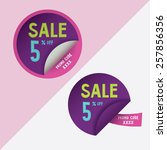 two round stickers with 5 ... | Shutterstock .eps vector #257856356