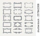 set of doodle frames and... | Shutterstock .eps vector #257862308